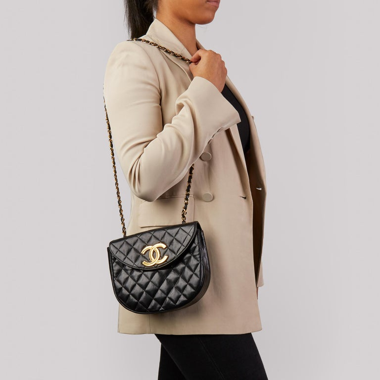 Chanel Black Quilted Lambskin Vintage XL Round Classic Single Flap Bag 8