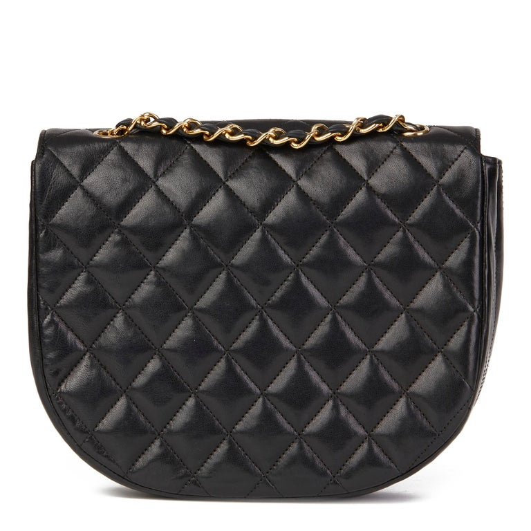 Women's Chanel Black Quilted Lambskin Vintage XL Round Classic Single Flap Bag