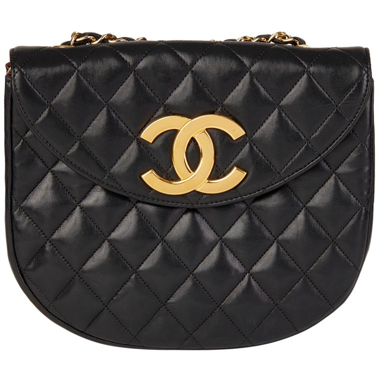 Chanel Black Quilted Lambskin Vintage XL Round Classic Single Flap Bag