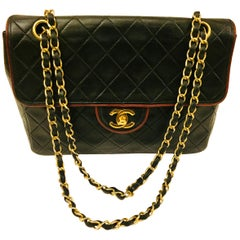 Chanel Black Quilted Lambskin with Red Piping Shoulder Bag