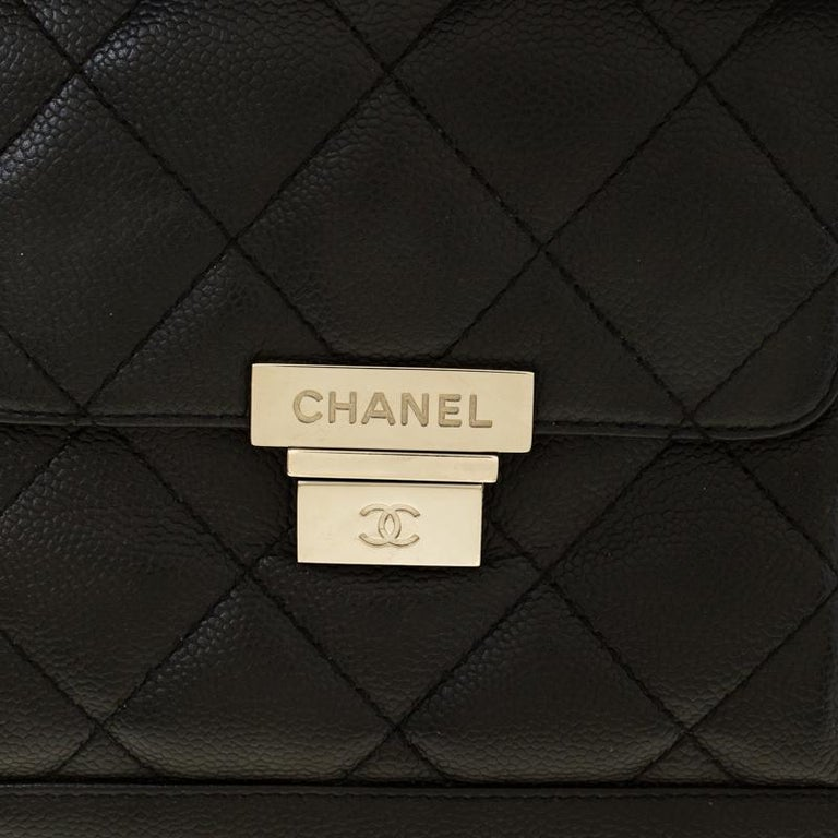 Chanel Black Quilted Leather Accordion Push Lock Flap Bag 7