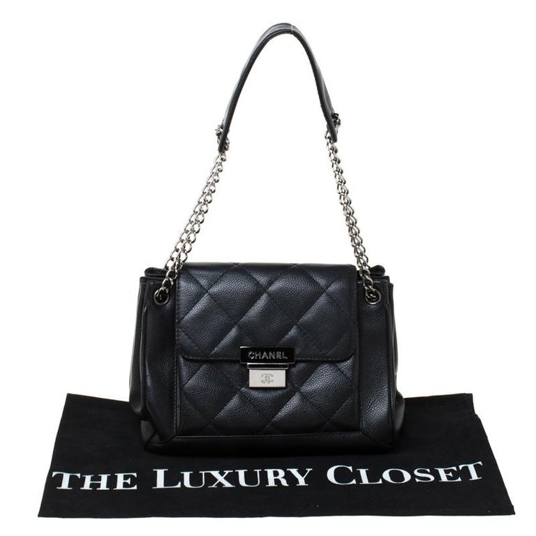 Chanel Black Quilted Leather Accordion Push Lock Flap Bag 8