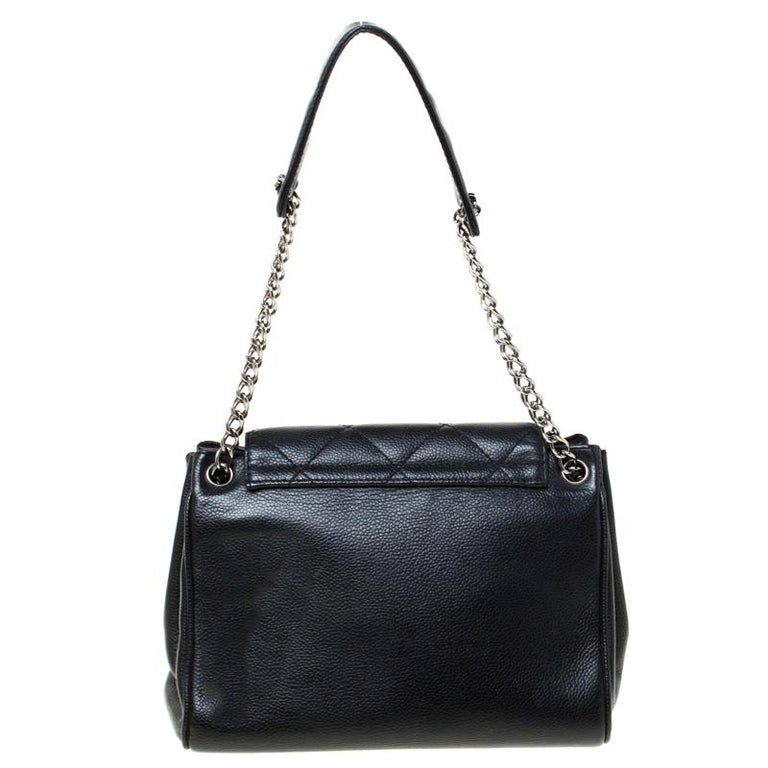 Women's Chanel Black Quilted Leather Accordion Push Lock Flap Bag