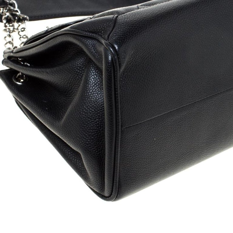 Chanel Black Quilted Leather Accordion Push Lock Flap Bag 5