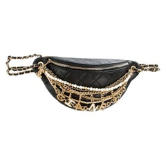 Chanel Black Quilted Leather All About Chains Waist Bag