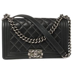 Chanel Black Quilted Leather and Nubuck Medium Wild Stitch Boy Flap Bag