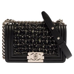 Chanel Black Quilted Leather and Tweed Small Boy Flap Bag