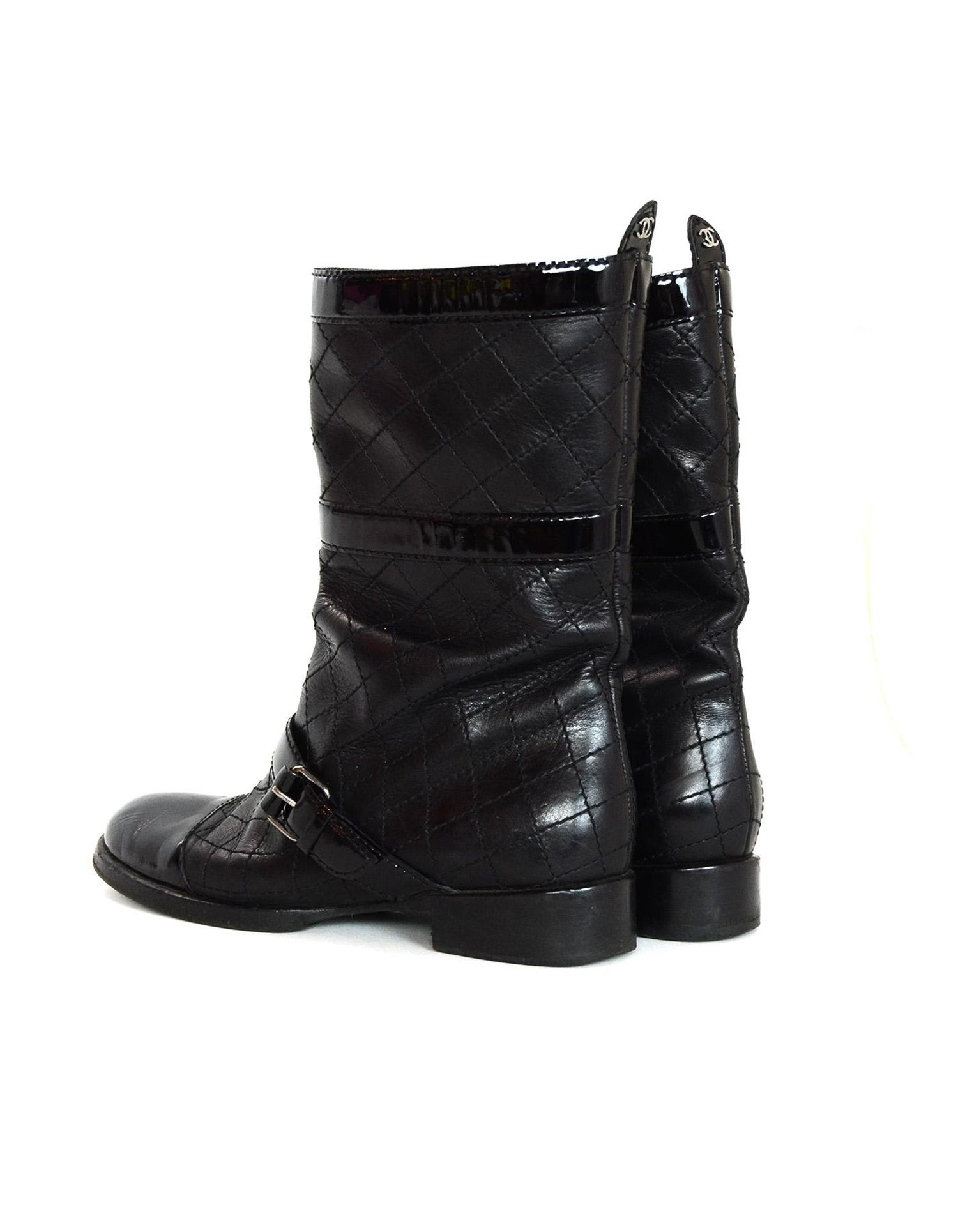 47d13e894608 Chanel Black Quilted Leather Buckle Boots W  Patent Toe Sz 38 For Sale at  1stdibs