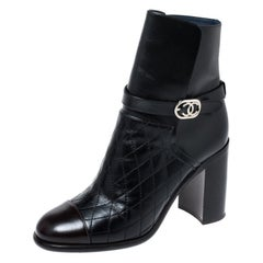 Chanel Black Quilted Leather Cap Toe CC Buckle Ankle Boots Size 40