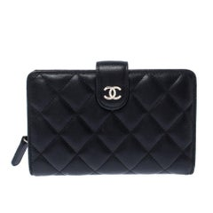 Chanel Black Quilted Leather CC BiFold Wallet