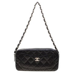 Chanel Black Quilted Leather CC Classic Camera Bag