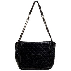 Chanel Black Quilted Leather CC Timeless Accordion Bag