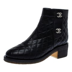 Chanel Black Quilted Leather CC Turnlock Ankle Boots Size 36