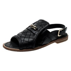 Chanel Black Quilted Leather Chain Link Flat Sandals Size 35.5