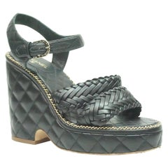 CHANEL BLACK Quilted Leather Chain Wedge-38