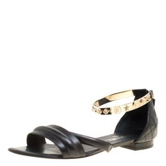 Chanel Black Quilted Leather Charm Embellished Sandals Size 39