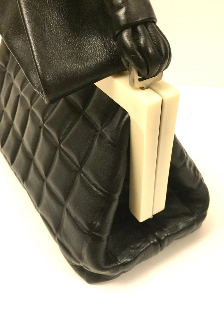 Chanel black quilted leather chocolate bar handle bag For Sale 2