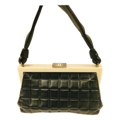 Chanel black quilted leather chocolate bar handle bag