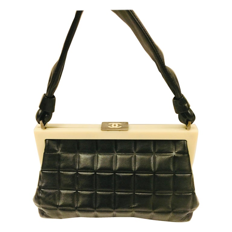 Chanel black quilted leather chocolate bar handle bag For Sale