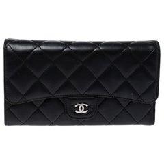 Chanel Black Quilted Leather Classic Flap Wallet