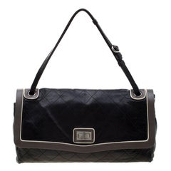 Chanel Black Quilted Leather Country Club Jumbo Flap Bag
