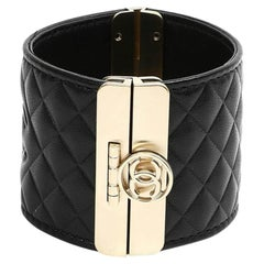 CHANEL Black Quilted Leather Cuff