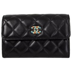 CHANEL black quilted leather EGYPT CC Wallet