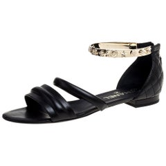 Chanel Black Quilted Leather Embellished Ankle Cuff Flat Sandals Size 39