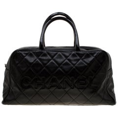 Chanel Black Quilted Leather Enamel Boston Bag
