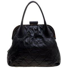 Chanel Black Quilted Leather Expandable Zip Around Frame Satchel