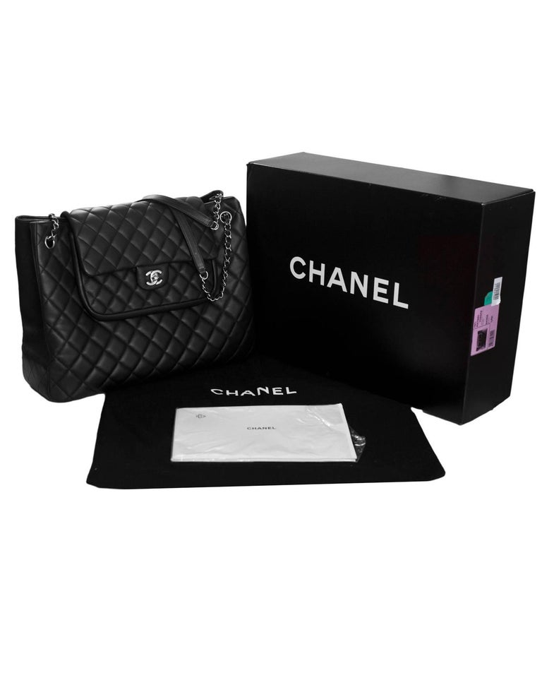 1cdd9dd94d6b Chanel Black Quilted Leather Flap Large Shopping Tote Bag rt.  5
