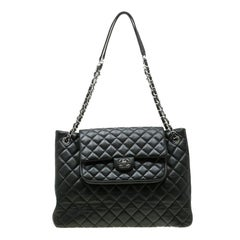 Chanel Black Quilted Leather Front Pocket Flap Tote