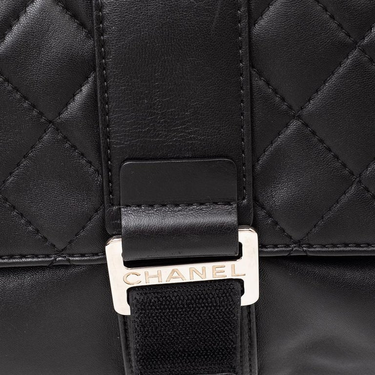 Chanel Black Quilted Leather Grip Clutch For Sale 6
