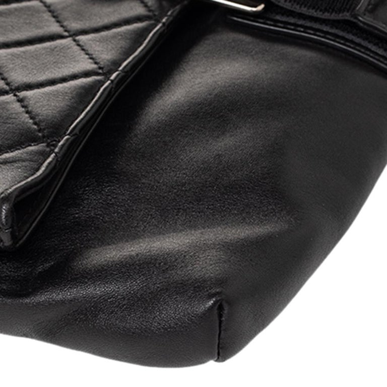 Chanel Black Quilted Leather Grip Clutch For Sale 7