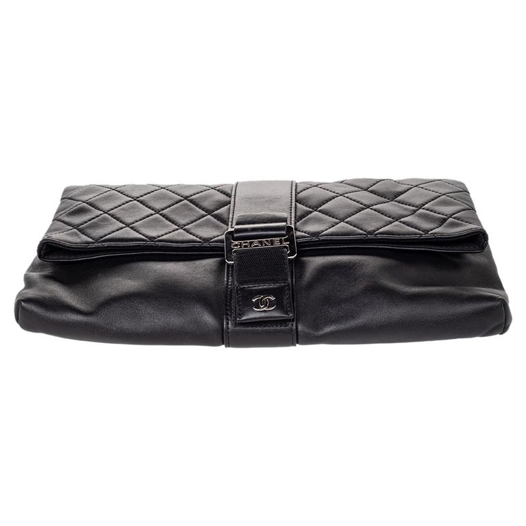 Chanel Black Quilted Leather Grip Clutch For Sale 8
