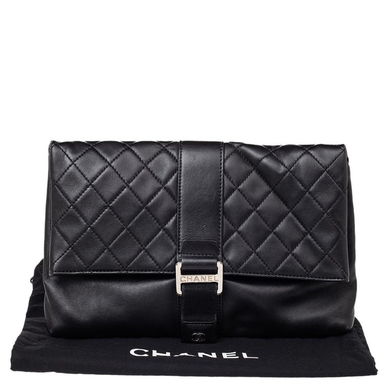 Chanel Black Quilted Leather Grip Clutch For Sale 9