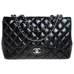 Chanel Black Quilted Leather Jumbo Classic Single Flap Bag