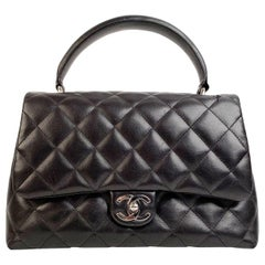 Chanel Black Quilted Leather Kelly Top Handle Bag Handbag