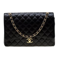 Chanel Black Quilted Leather Maxi Classic Double Flap Bag
