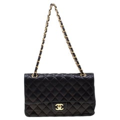 Chanel Black Quilted Leather Medium Classic Single Flap Bag