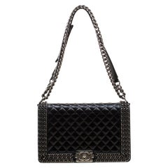 Chanel Black Quilted Leather Medium Interlaced Chains Boy Flap Bag