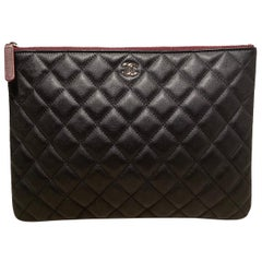 Chanel Black Quilted Leather Medium O Pouch