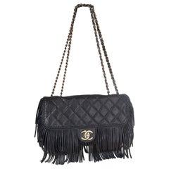 CHANEL black quilted leather PARIS - DALLAS FRINGE FLAP Shoulder Bag