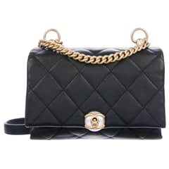 Chanel Black Quilted Leather Pearl Gold Small Evening Shoulder Flap Bag