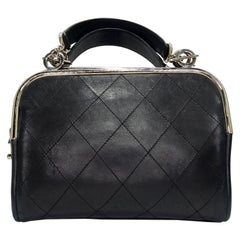 Chanel Black Quilted Leather Top Handle Bag