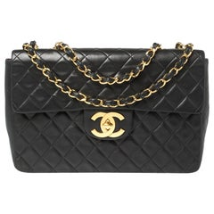 Chanel Black Quilted Leather Vintage Jumbo XL Maxi Flap Bag