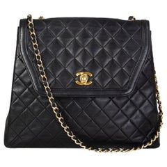 CHANEL black quilted leather VINTAGE TRAPEZE Flap Shoulder Bag