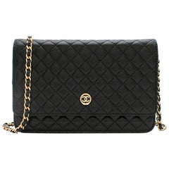 Chanel Black Quilted Leather Wallet On Chain 23cm