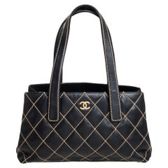 Chanel Black Quilted Leather Wild Stitch Tote