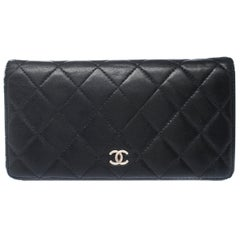 Chanel Black Quilted Leather Yen Wallet